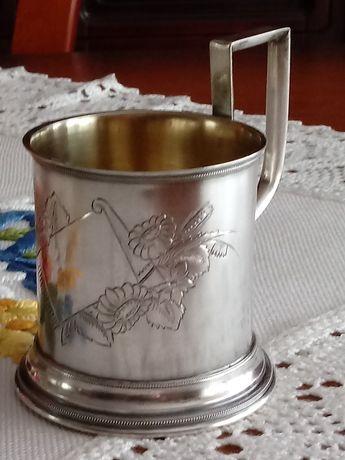 Rosja Carska Podstakannik srebro pr 84 XIX wiek złocony