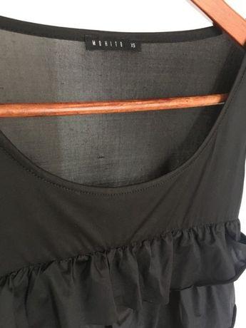 Czarna krótka mini sukienka mohito falbany XS