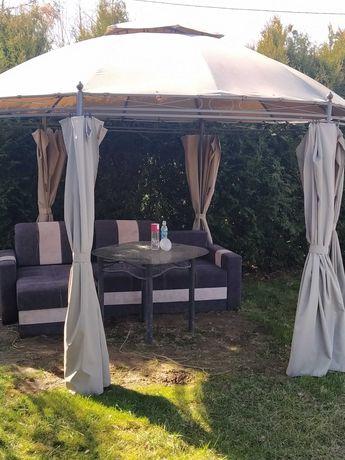 Altanka ogrodowa + narożnik + stolik szklany