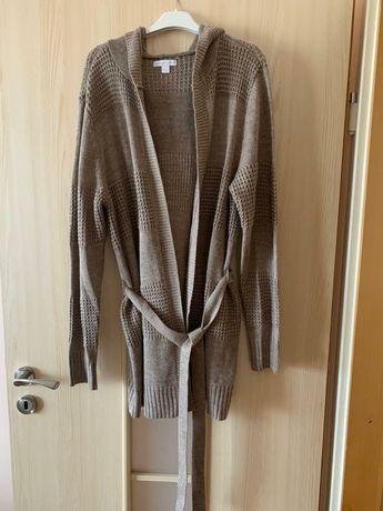 NOWY Brązowy jasny sweterek z kapturem