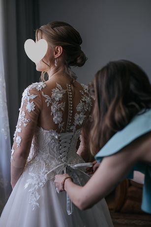 Suknia ślubna z salonu Lovely -ecru, długi rękaw, koronka, motyw liści