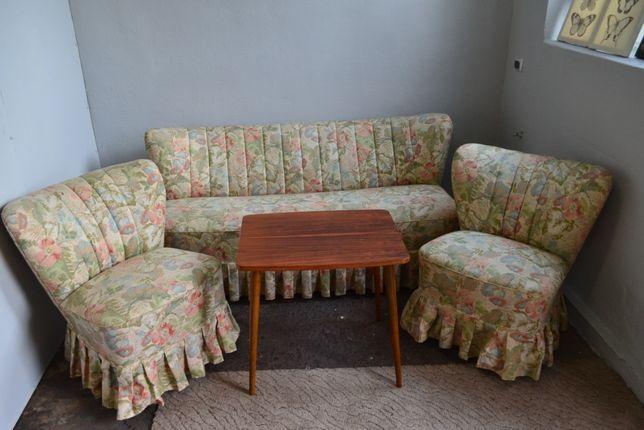 Zestaw sofa kanapa muszelka fotel klubowy patyczak retro vintage uszak
