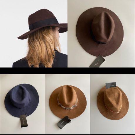 Женские шляпы с полями ZARA 100% шерсть сток оптом опт