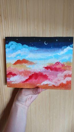 Картина на срезе дерева луна месяц небо звёзды панно