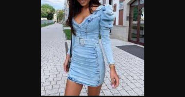 Niebieska jeansowa sukienka denim jeans Siwiec Must Lou model