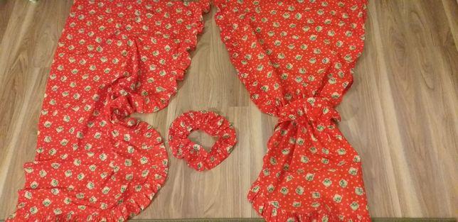 Zasłonki świąteczne czerwone 3 komplety