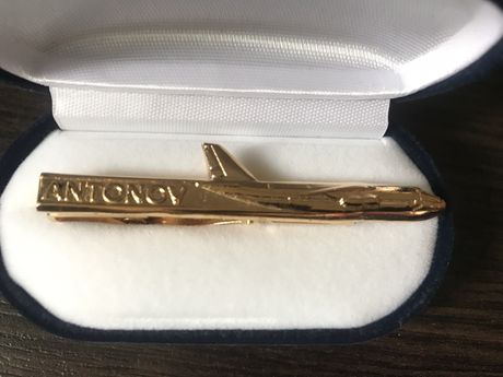 Зажим для галстука VIP позолота Антонов в коробке бархат