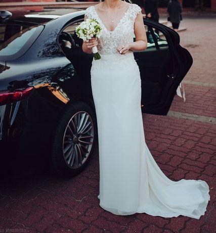 Suknia ślubna Herms Barberton rozmiar 38 na wzrost 170 cm + 5 cm obcas