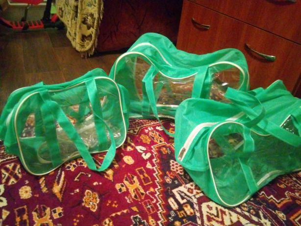 Прозрачная ПВХ сумка в роддом набор 3шт. разных размеров