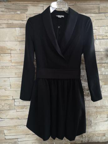 Mersa Czarna sukienka bombka z paskiem rozm 36