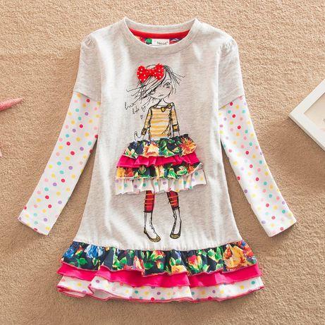 Sukienka dla księżniczki na wiosnę długi rękaw bawełna kolory r. 98