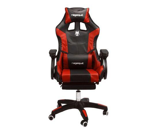 Fotel Gamingowy, Obrotowy, Kubełkowy, dla GRACZA - RAGEQUIT czerwony
