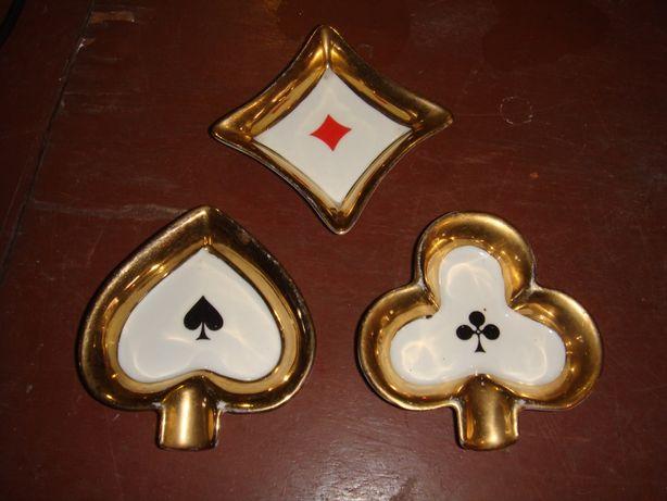 Popielniczki karciane porcelanowe śliczne