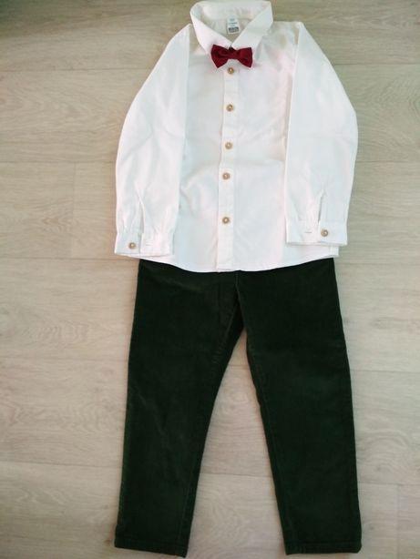Набор, детские штаны брюки, белая рубашка 3-4