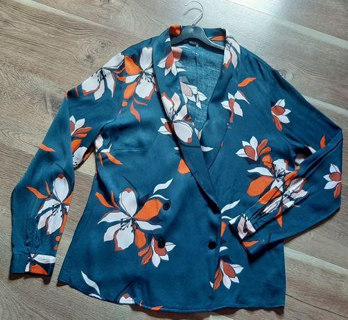 Лёгкий пиджак жакет  блейзер в цветочный принт от F&F 48 размер
