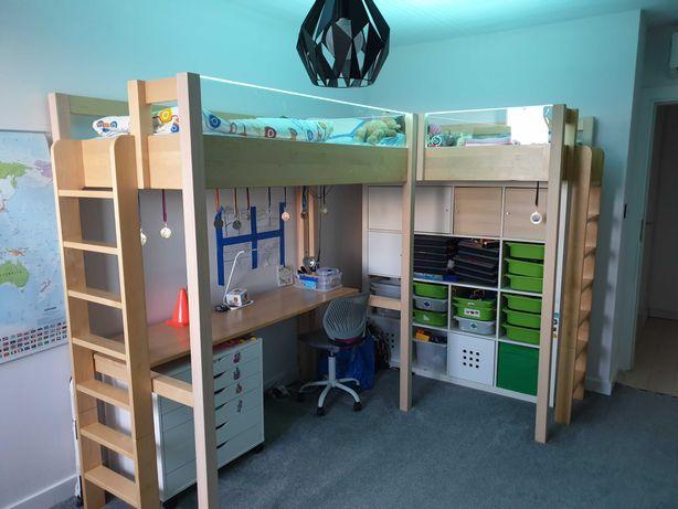Łóżko piętrowe z biurkiem komplet (2 łóżka)