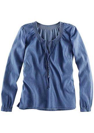 Джинсовая рубашка / сорочка из тонкого денима свободного кроя