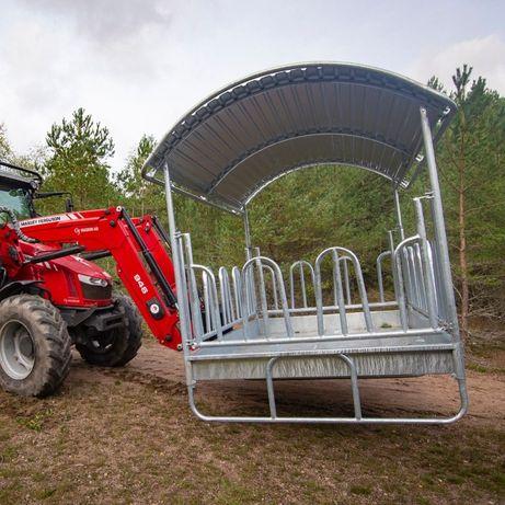 Karmnik Paśnik dla krów bydła koni ZADASZONY ocynk 14-stanowisk