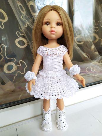 Красивое белоснежное платье с двумя резиночками для куклы Паола Рейна