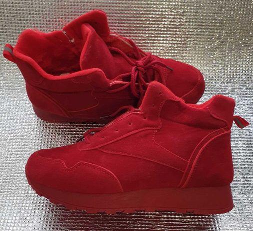 Кроссовки зимние, зимние кеды красные, модные зимние кроссовки
