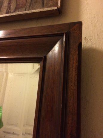 lustro antyk 144 x 152 duże fazowane rama lite drewno