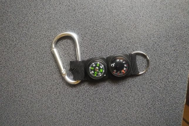 Karabińczyk termometr kompas brelok