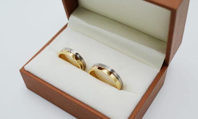 Złote obrączki ślubne z brylantami