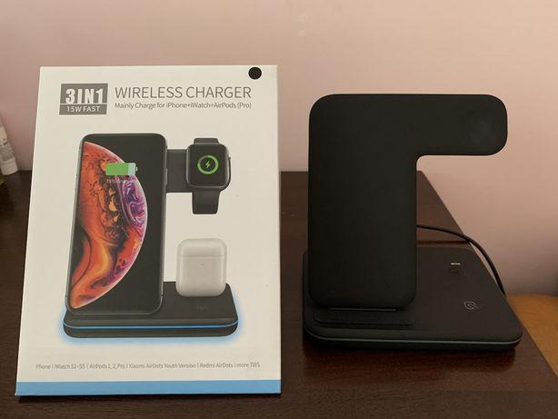 Беспроводная зарядка 3 в 1 для iPhone, Apple Watch, AirPods 1, 2
