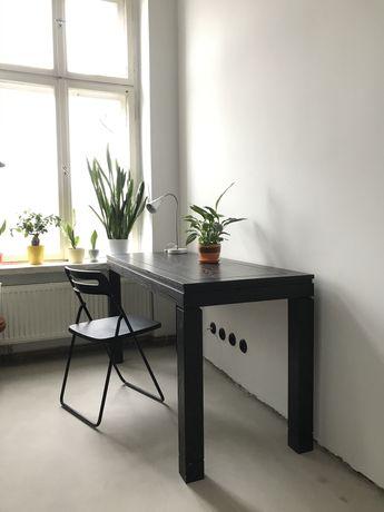 Masywne brązowe stół/biurko i ława