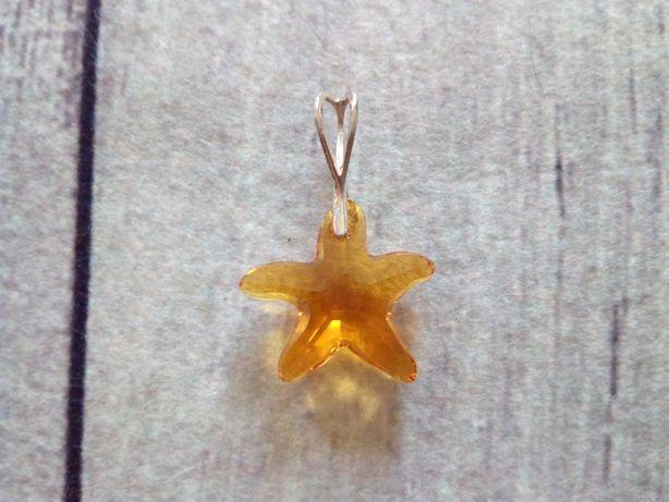 Srebrna zawieszka gwiazda kryształ Swarovski