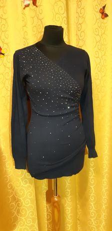 Granatowa sukienka z cekinami r. M i małe L
