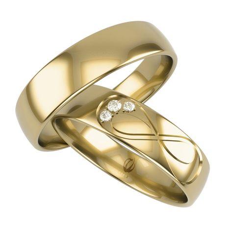 Obrączki z złota 585 14K znak nieskończoności cyrkonie Swarovski bryla
