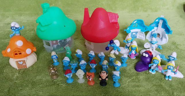 70* SMERFY z domkami + postacie z jajek niespodzianek