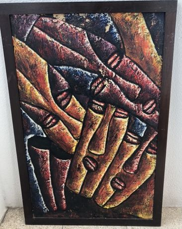 quadro pintura africana Angola anos 80