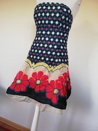 Letnia sukienka m folklor falbanka kwiaty pin up boho Rozm M