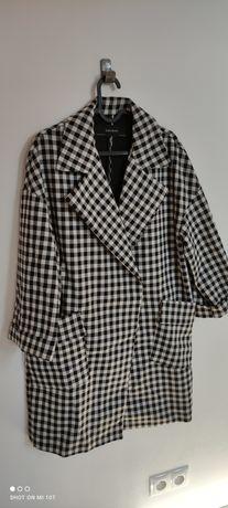 36/38 Zara płaszcz oversize w kratę kratkę czarno biały