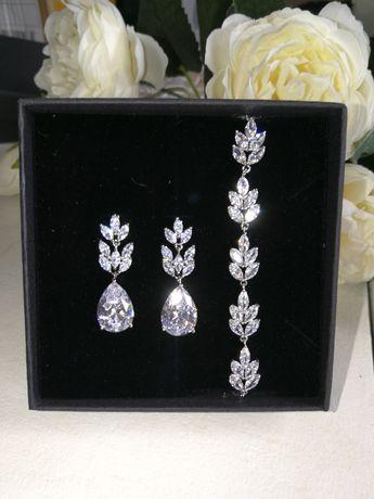 Nowy komplet biżuterii ślubnej, okazjonalnej, wieczorowej