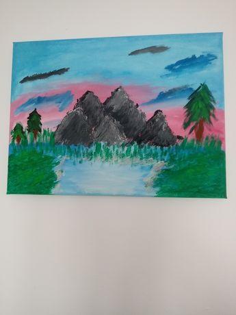 Obraz ręcznie malowany temperami.