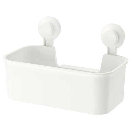 Полка на присосках IKEA прямая пластиковая белая, стелаж настенный