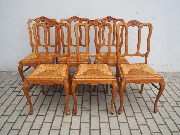 Rzeźbiony komplet 6 krzeseł ludwikowskich 643