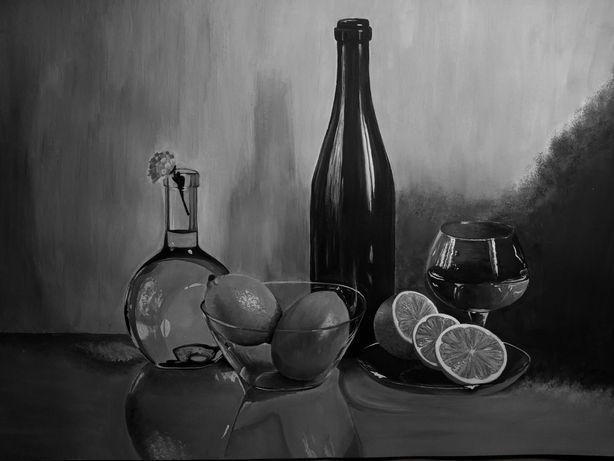 Чёрно-белый натюрморт,картина,гуашь