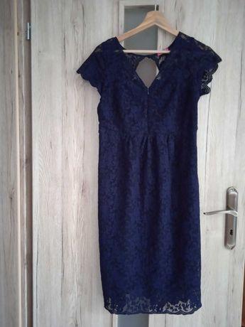 Sukienka do karmienia ciążowa happymum M 38 granatowa koronka