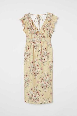 Sukienka ciążowa w kwiaty H&M Mama,rozmiar S,ładne wiązanie na plecach