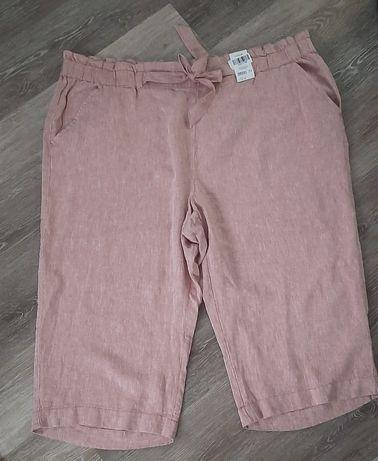 Spodnie nowe George len 3/4 pudrowy róż  rozmiar. 56/58 XXXL