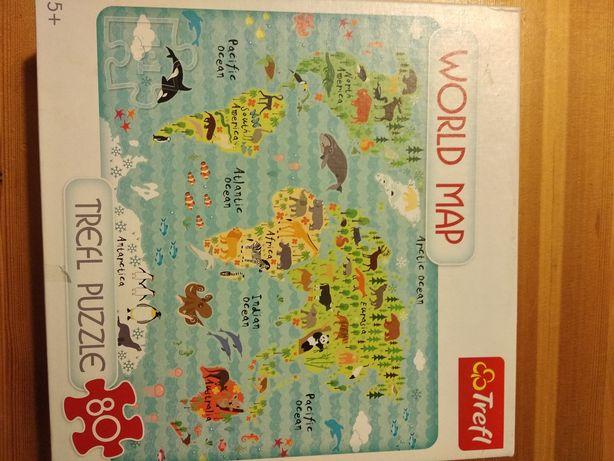 Puzzle Mapa świata 80 el Trefl