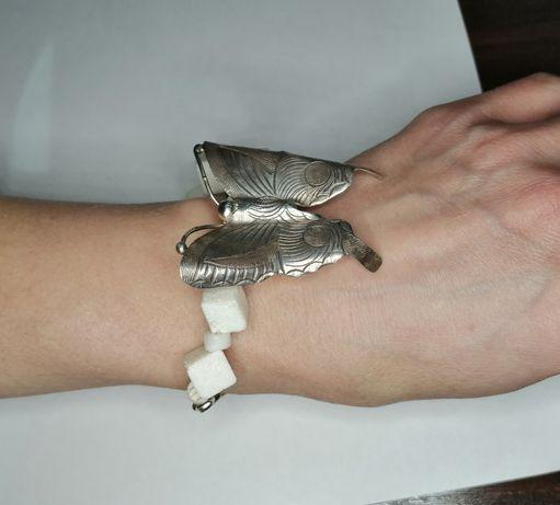 Bransoleta Srebro 925 Biały Koral Duży Motyl NIESPOTYKANA