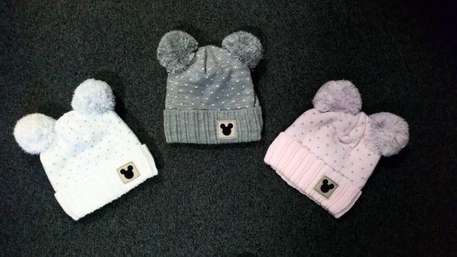 Boska czapka zimowa z pomponami dla dziewczynki produkt polski minnie