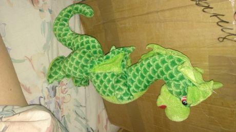 МЯГКАЯ ИГРУШКА дракон змей длинный зеленый хорошее состояние