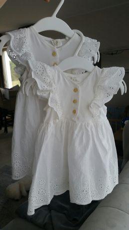 Komplet HM sukienka ażurowa bliźniaczki 68/74 falbanki