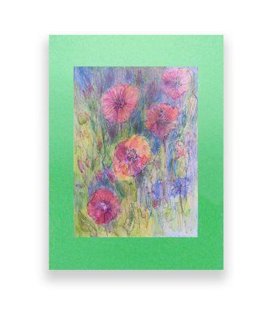 kwiaty rysunek, pastel kwiaty, łąka rysunek, łąka pstele, obraz łąka